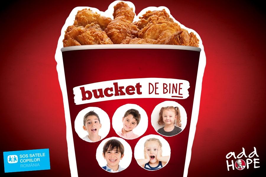 """""""Bucket de bine"""" - campania prin care SOS Satele Copiilor a primit de la KFC peste 150.000 de euro, continuă şi în 2018"""