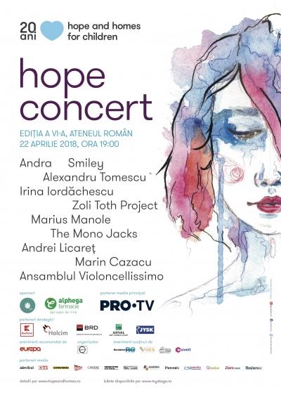 Andra, Smiley, Alexandru Tomescu, Marius Manole È™i Zoli Toth, pe scena Ateneului la cea de-a È™asea ediÈ›ie a Hope Concert
