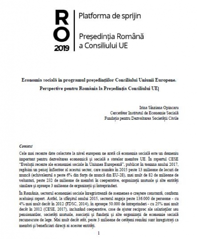 RO2019: Economia socială - perspective pentru România la Președinția Consiliului UE