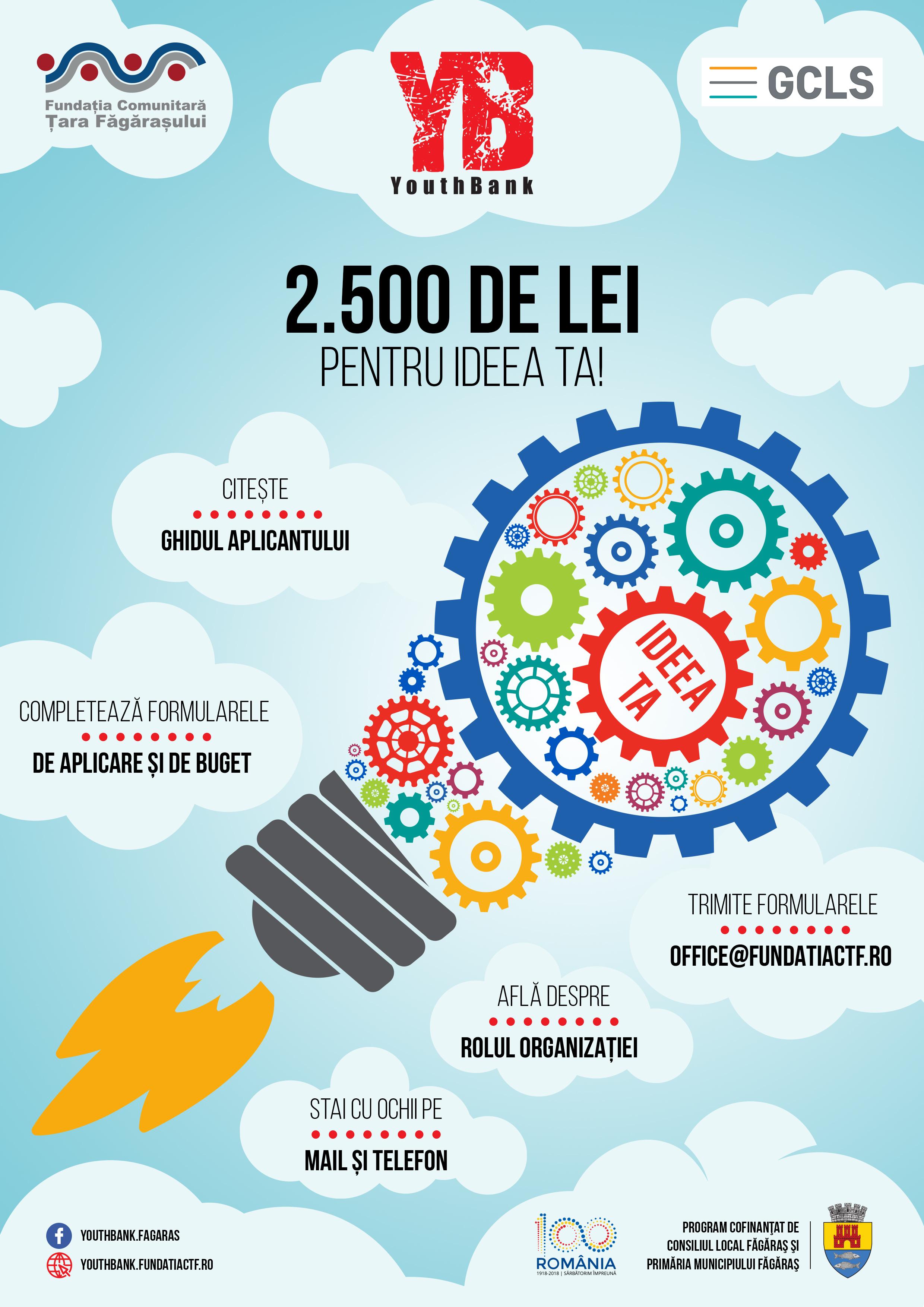 YouthBank Făgăraș premiază cu 2.500 de lei ideile tinerilor!