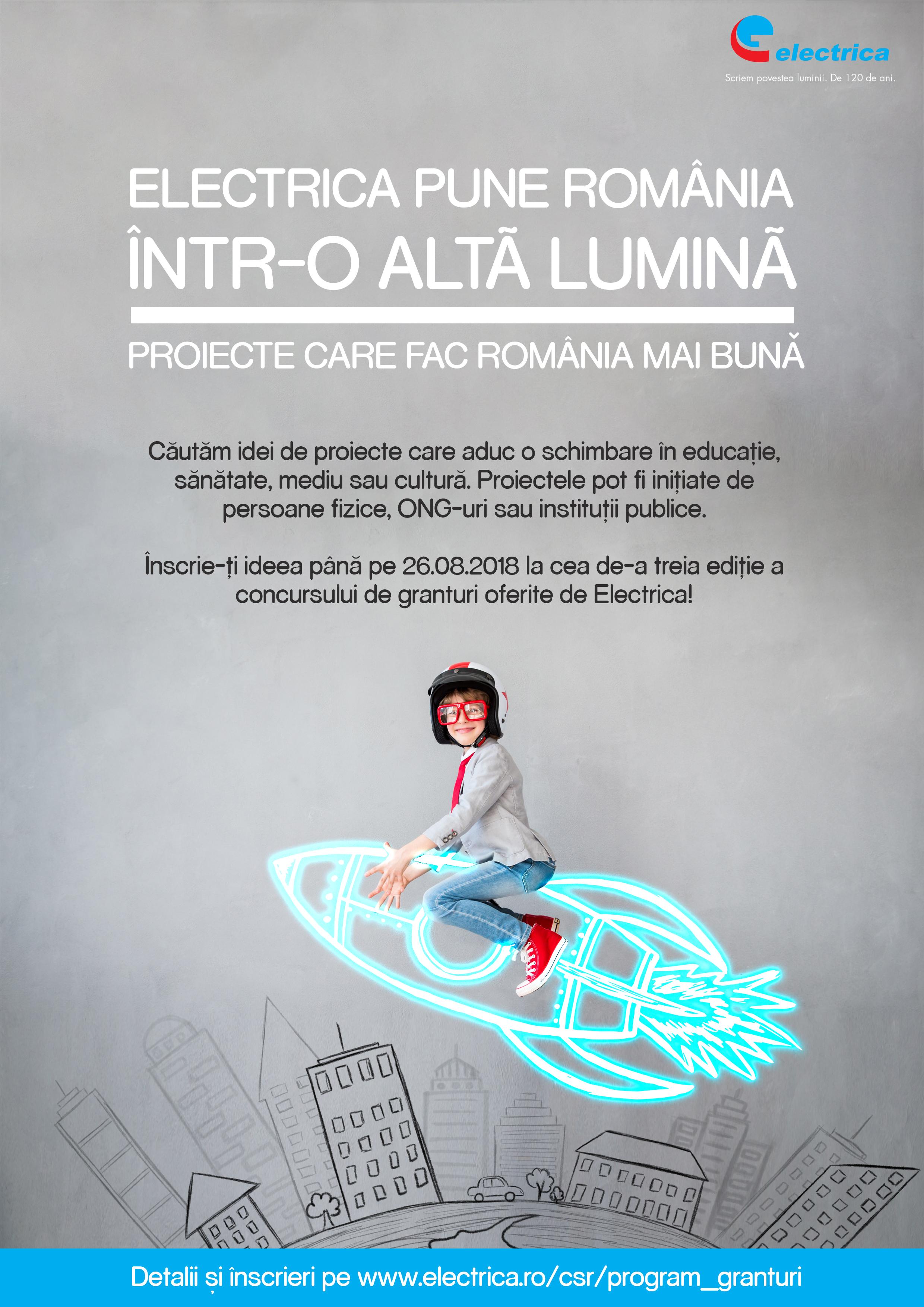 """Electrica lansează Programul de Granturi """"Electrica pune România într-o altă lumină"""" 2018"""