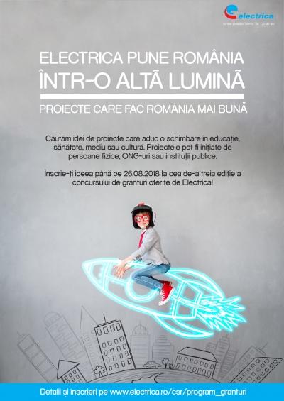 """Electrica lansează Programul de Granturi """"Electrica pune România într-o altă lumină� 2018"""