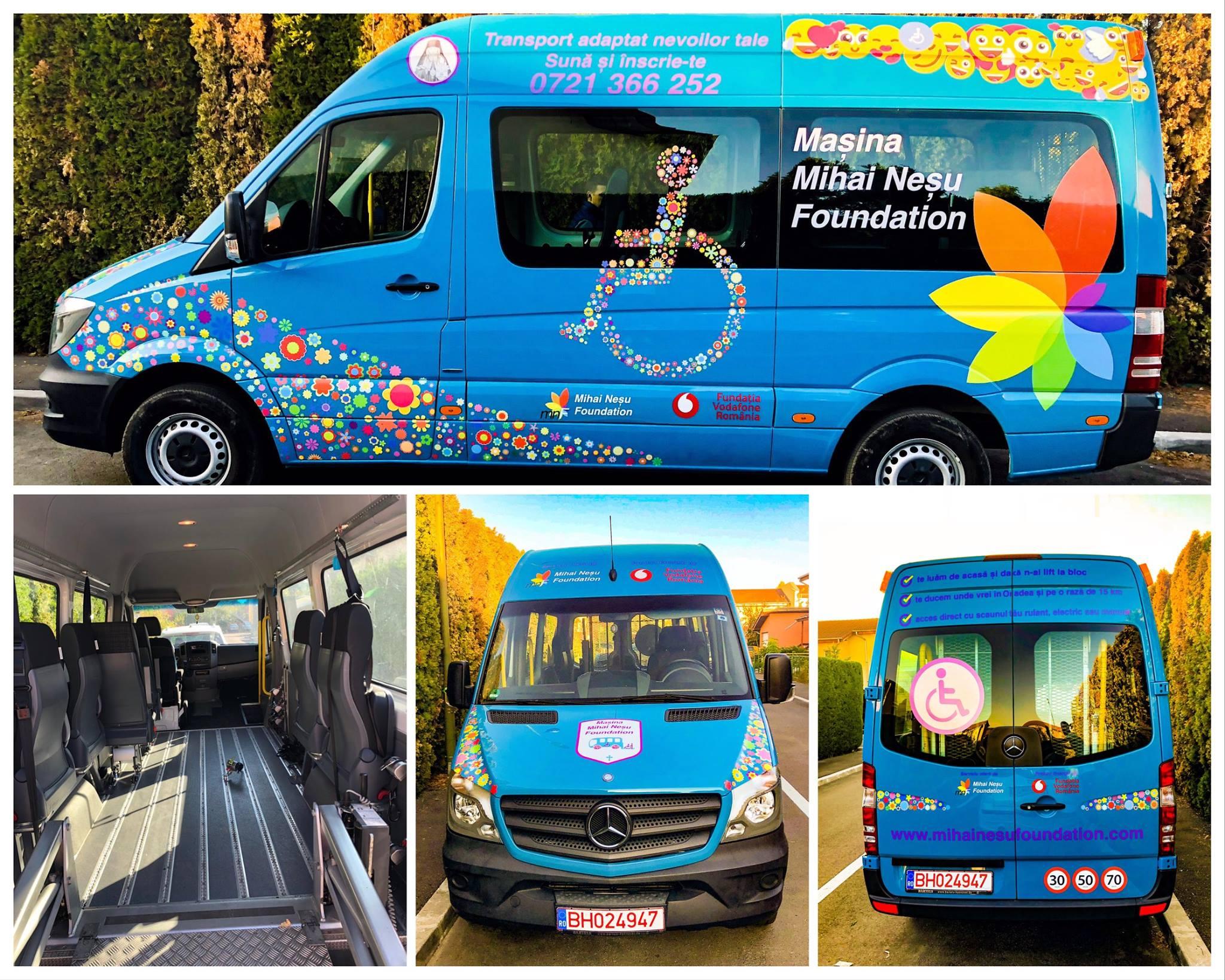 Persoanele cu dizabilități neuromotorii din județul Bihor beneficiază de primul serviciu de transport din regiune adaptat nevoilor lor