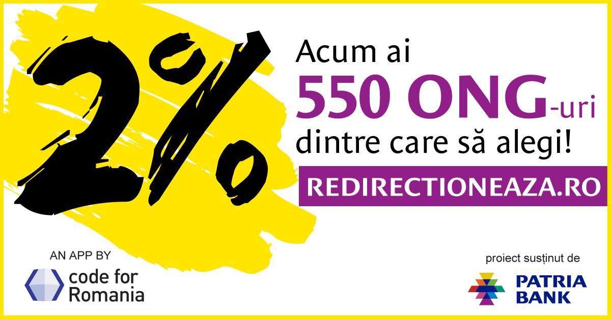 Redirectioneaza.ro ajută peste 550 de ONG-uri să primească 2% din impozitul pe venit