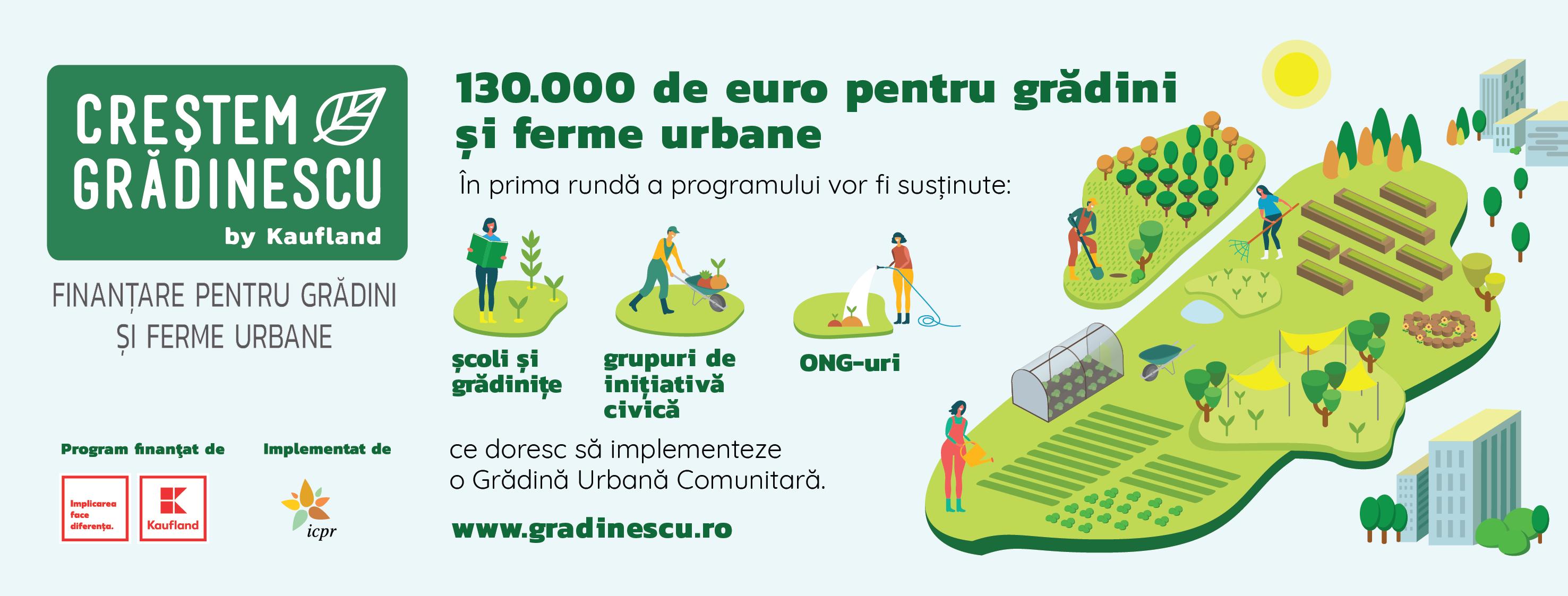 """""""Creștem Grădinescu"""" - Un program de finanțare Kaufland de 130.000 euro"""