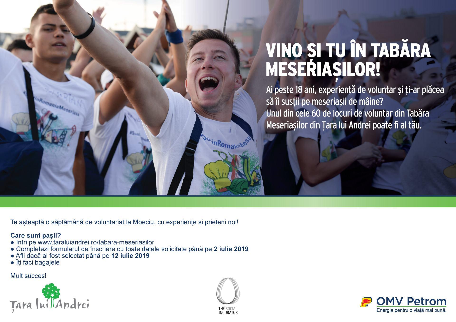 60 de locuri disponibile pentru voluntari în Tabăra Meseriașilor din Țara lui Andrei