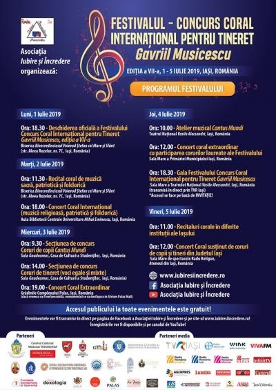 Cea de a şaptea ediţie a Festivalului - Concurs Coral Internaţional pentru Tineret Gavriil Musicescu