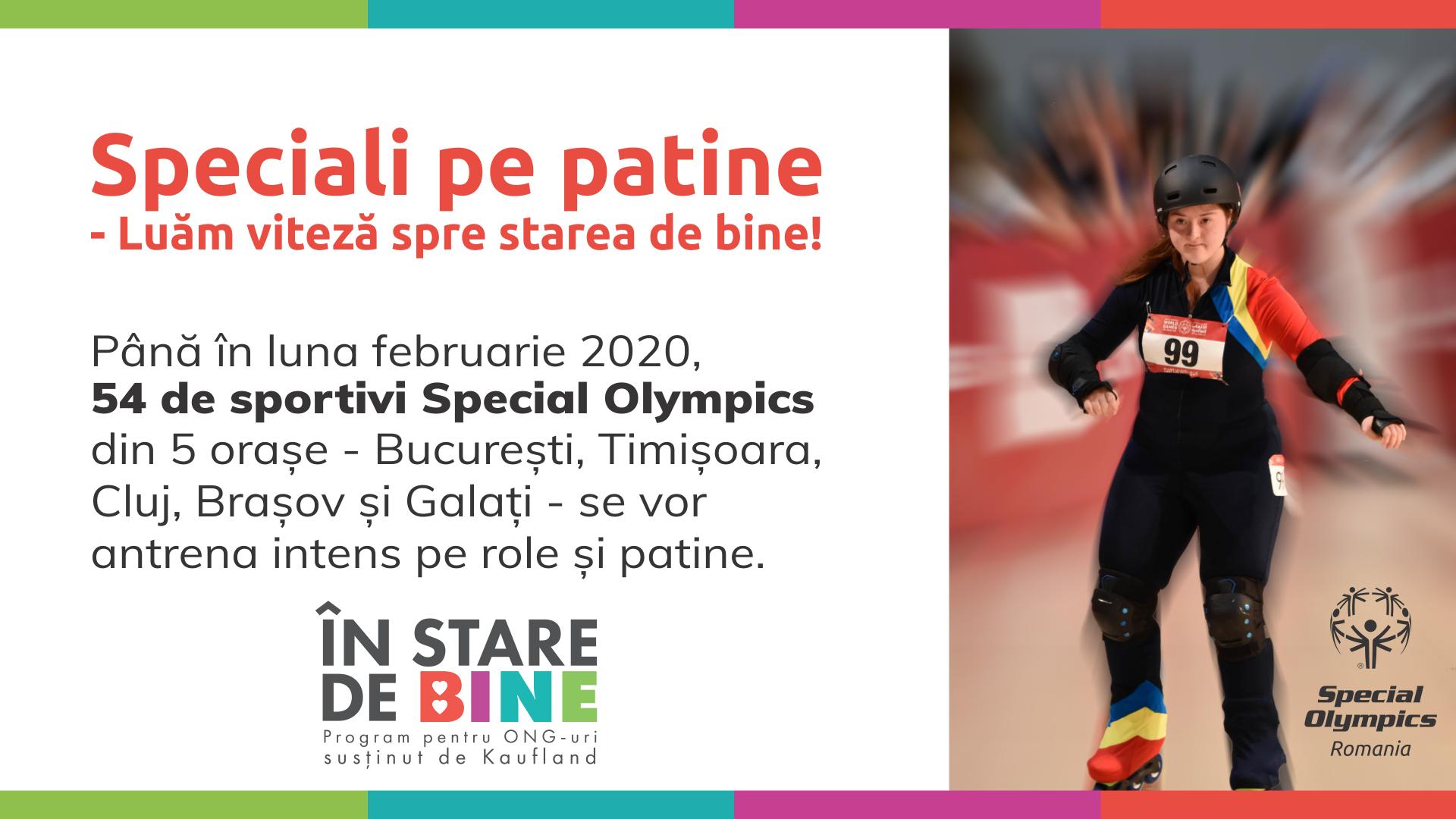 """Programul """"Speciali pe Patine – Luăm viteză spre starea de bine"""" va fi demarat de Special Olympics în cinci orașe"""