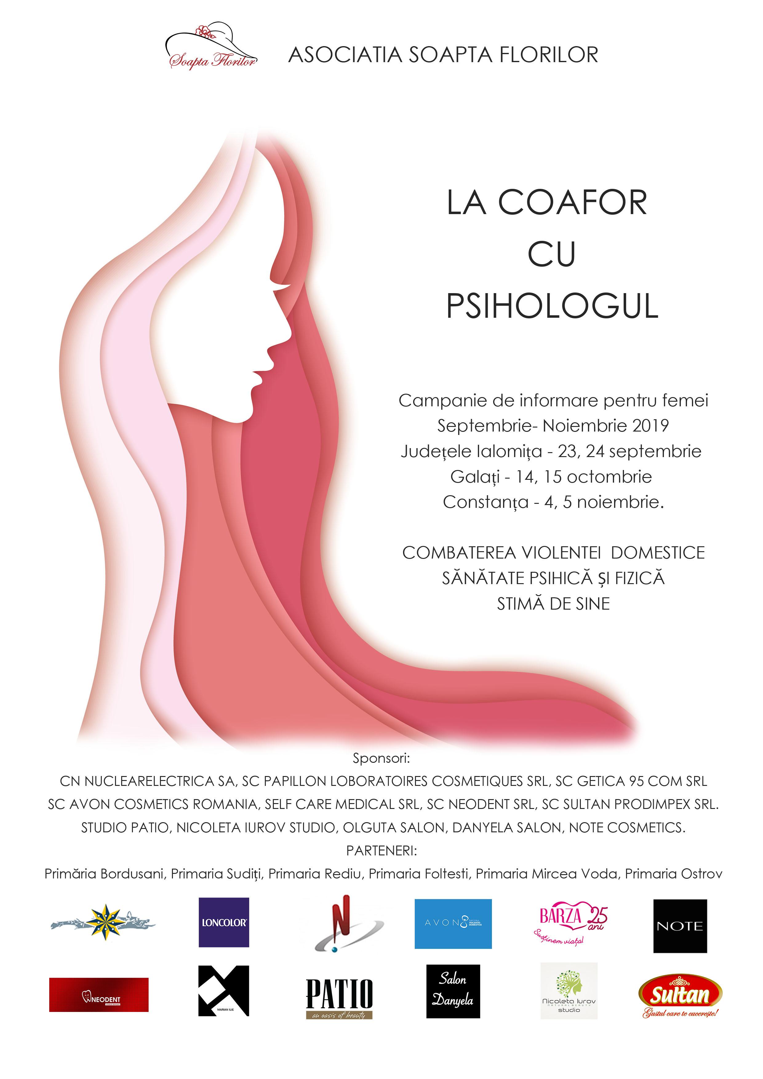 """""""La coafor cu psihologul"""" - campanie de informare pentru femeile din mediul rural, despre violența domestică, sănătate și stimă de sine"""
