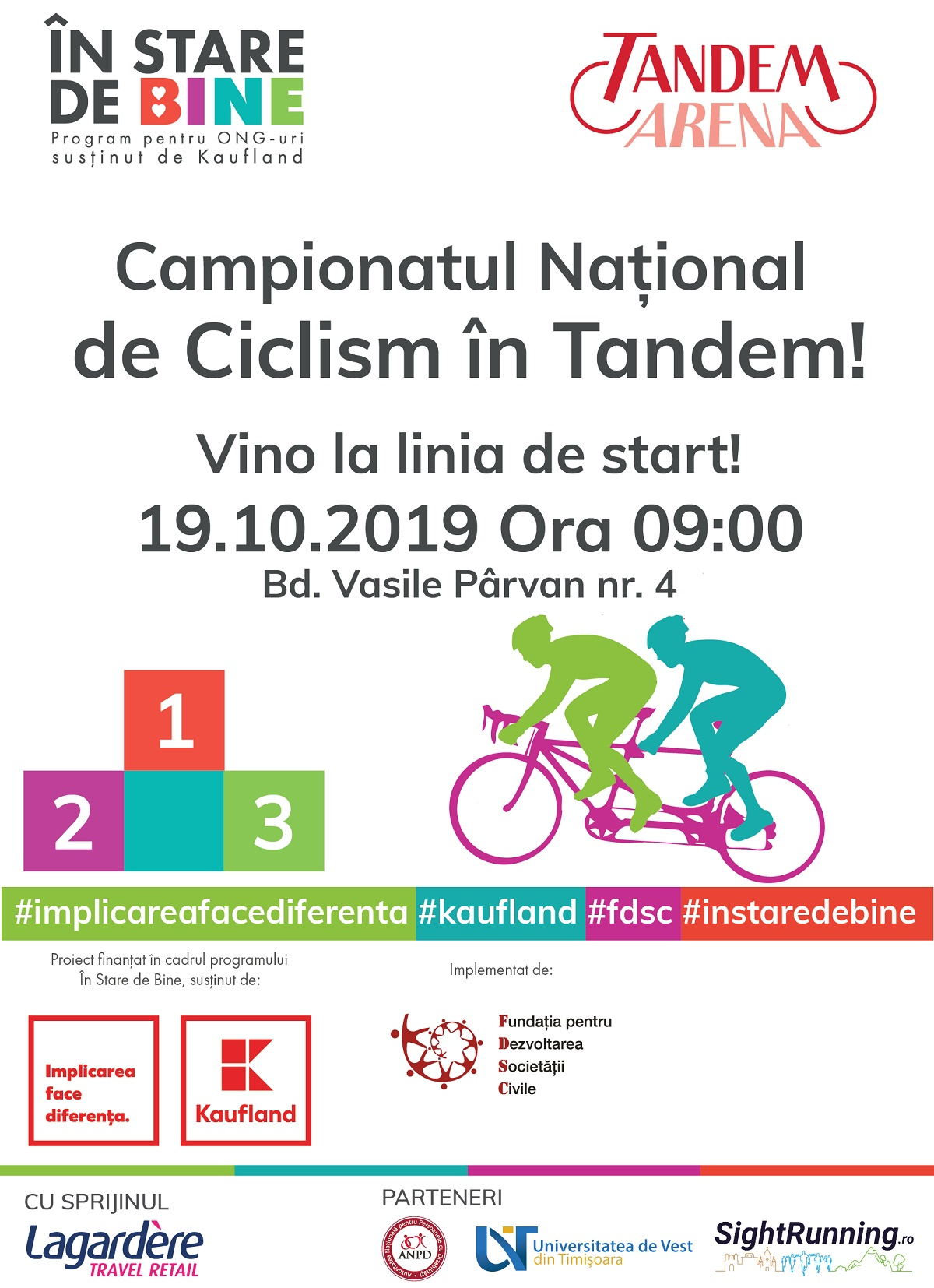 50 de echipaje în tandem participă la a patra ediție a Campionatului Național de Ciclism în Tandem