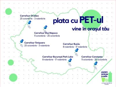 """Carrefour România aduce inițiativa """"Plata cu PET-ul� în 6 hipermarketuri din țară, timp de 10 zile"""