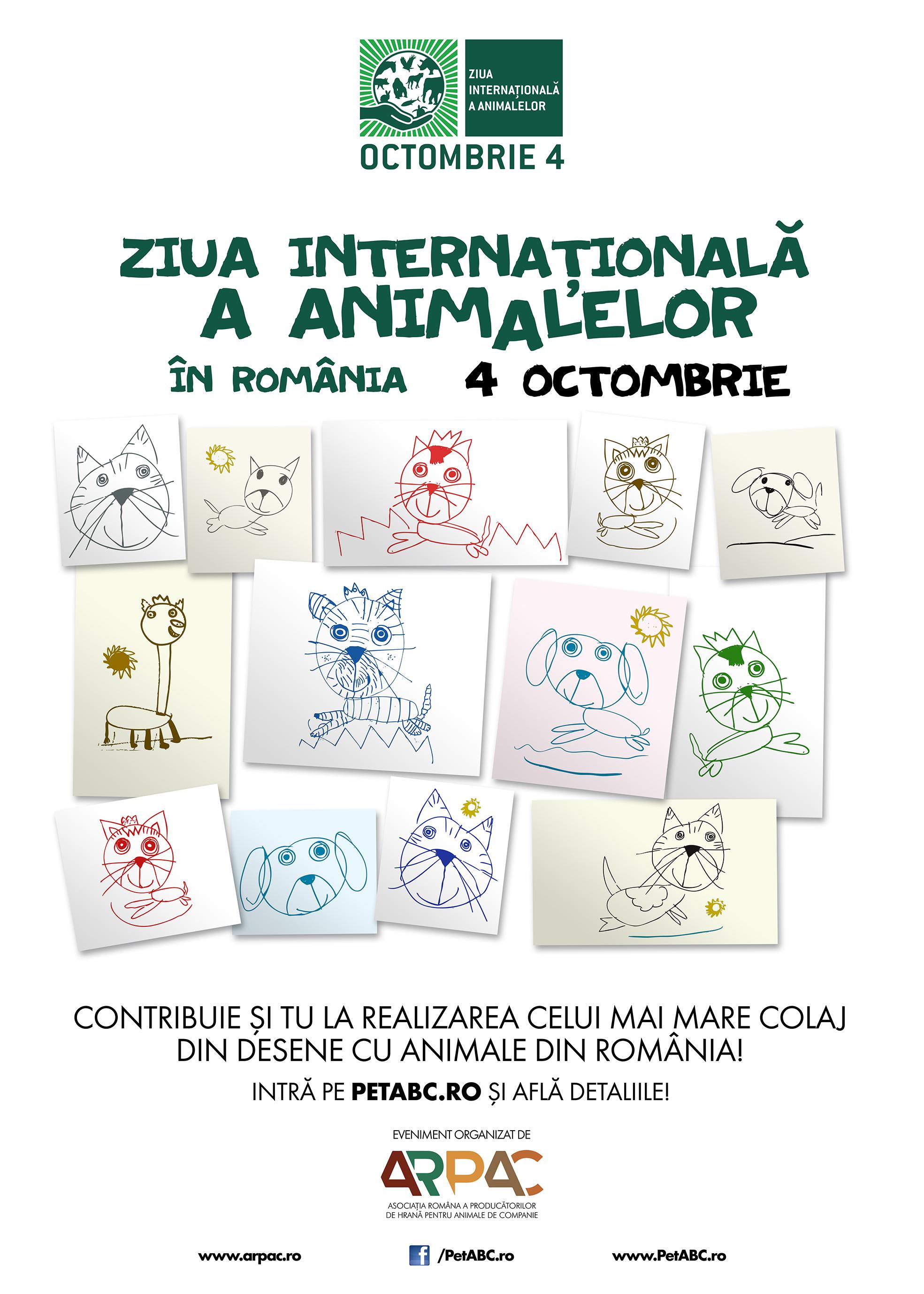 România sărbătoreşte Ziua Internaţională a Animalelor prin realizarea celui mai mare colaj cu desene despre animale