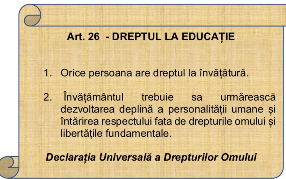 Dreptul la educație în pericol de ziua drepturilor omului!
