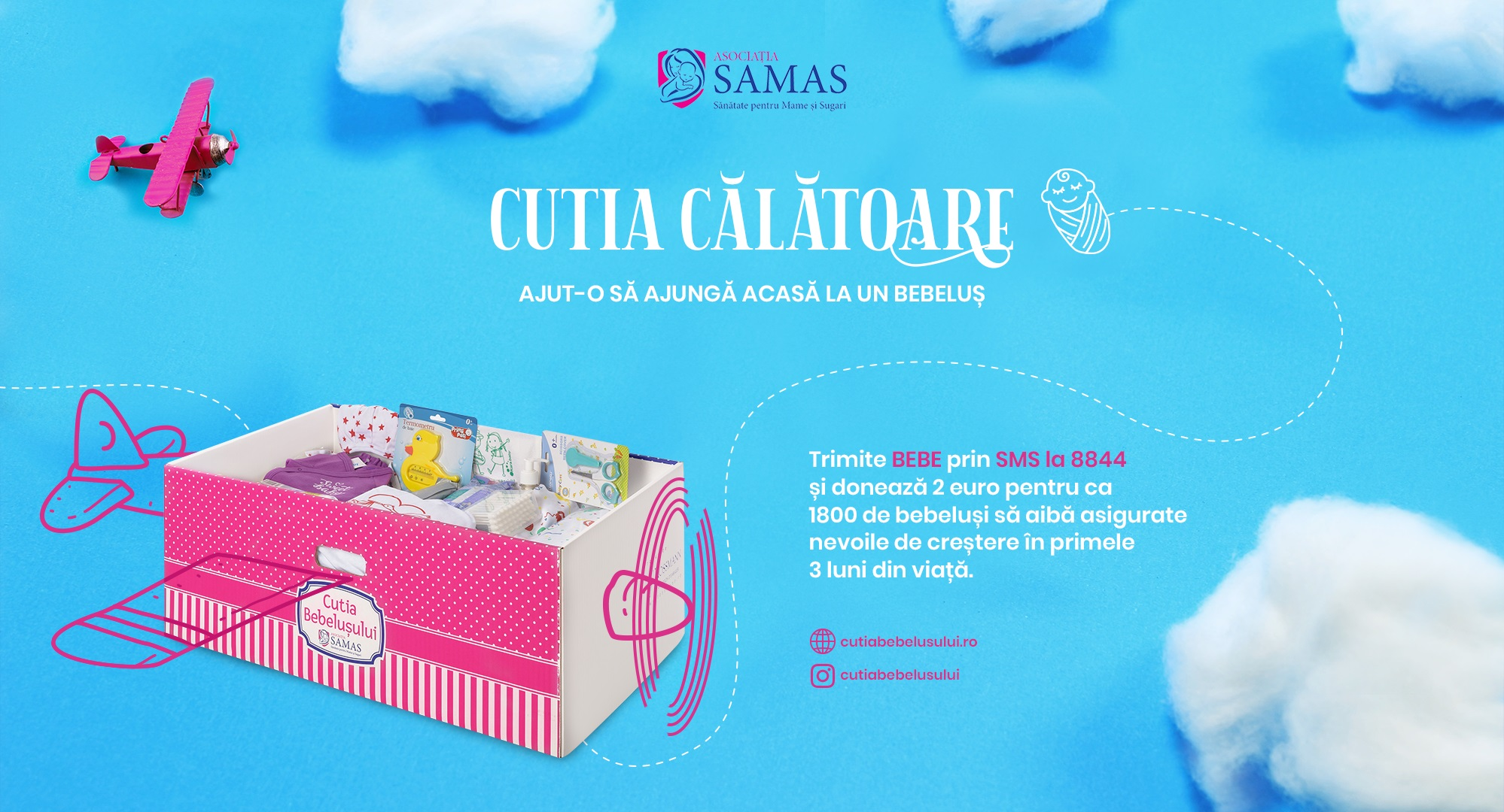 """Asociația SAMAS lansează """"Cutia Călătoare"""", o campanie de donații prin SMS pentru programul Cutia Bebelușului"""