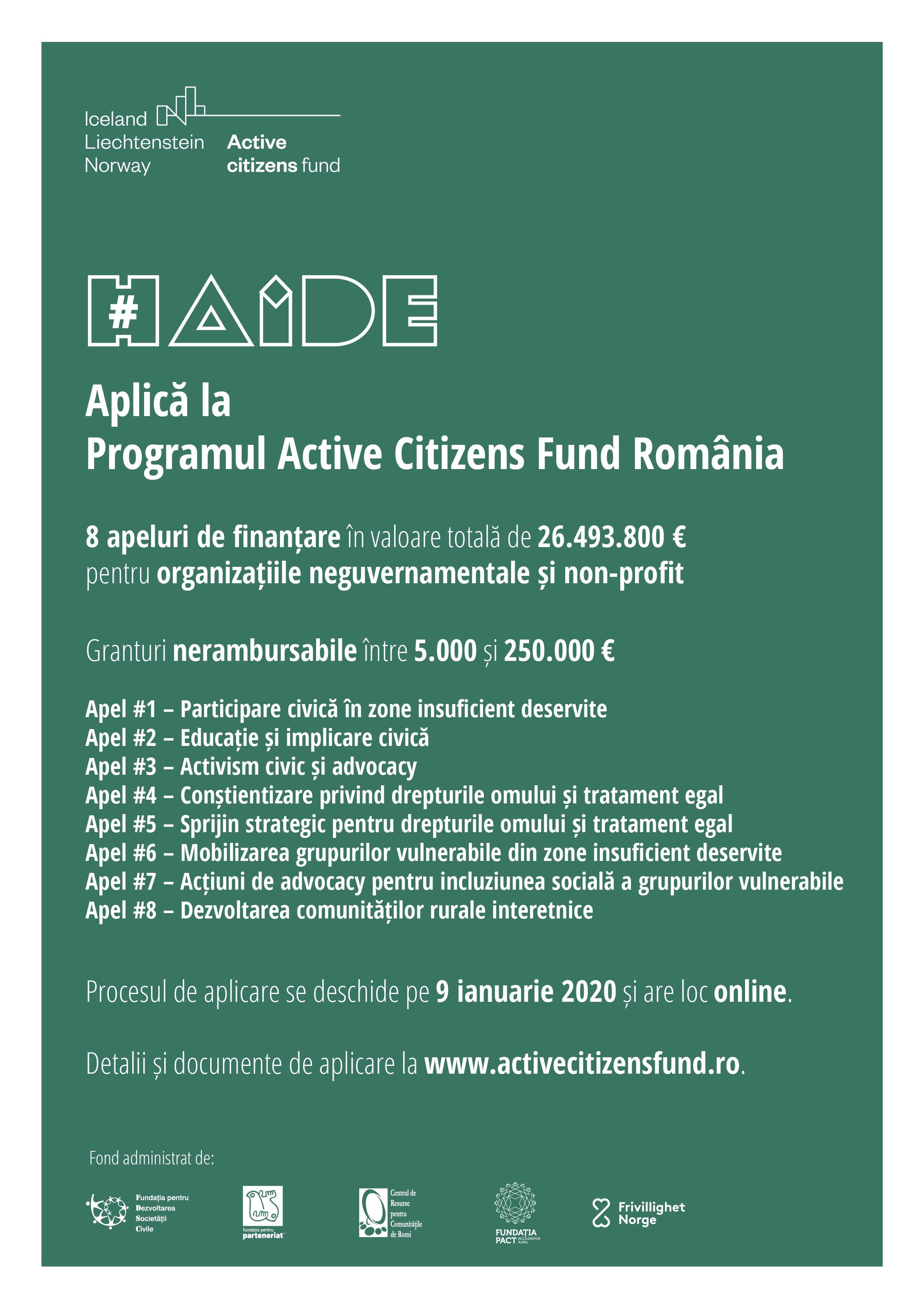 8 apeluri de proiecte lansate astăzi de Active Citizens Fund România