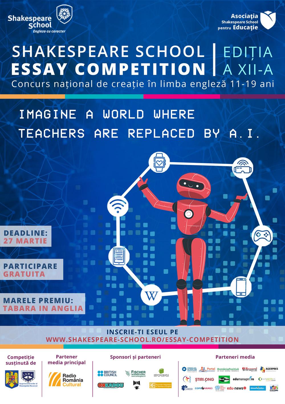Dăm startul înscrierilor la Shakespeare School Essay Competition – ediţia #12!