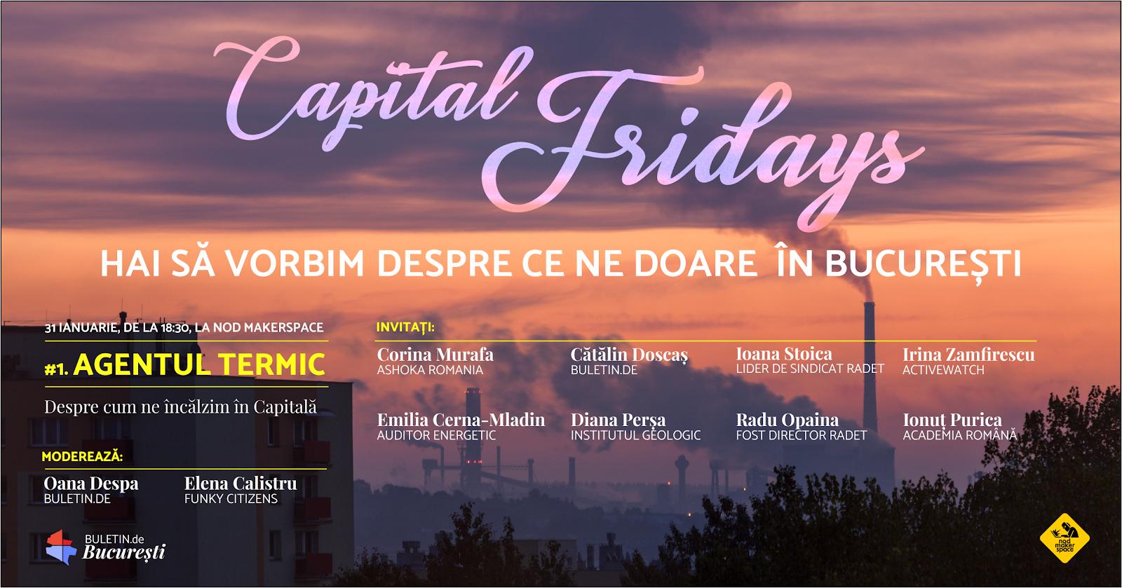 Capital Fridays debutează cu o dezbatere despre problematica încălzirii în București