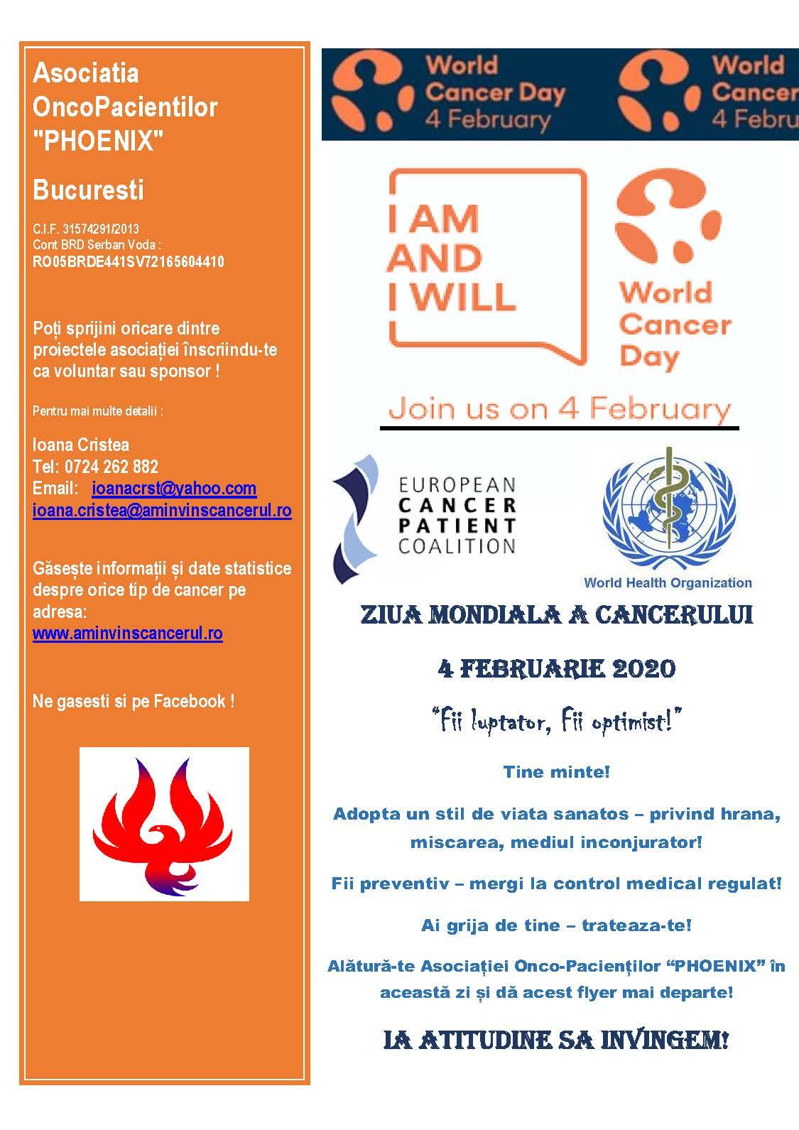 4 februarie, Ziua Mondială de Luptă Împotriva Cancerului, Asociația OncoPacientilor PHOENIX