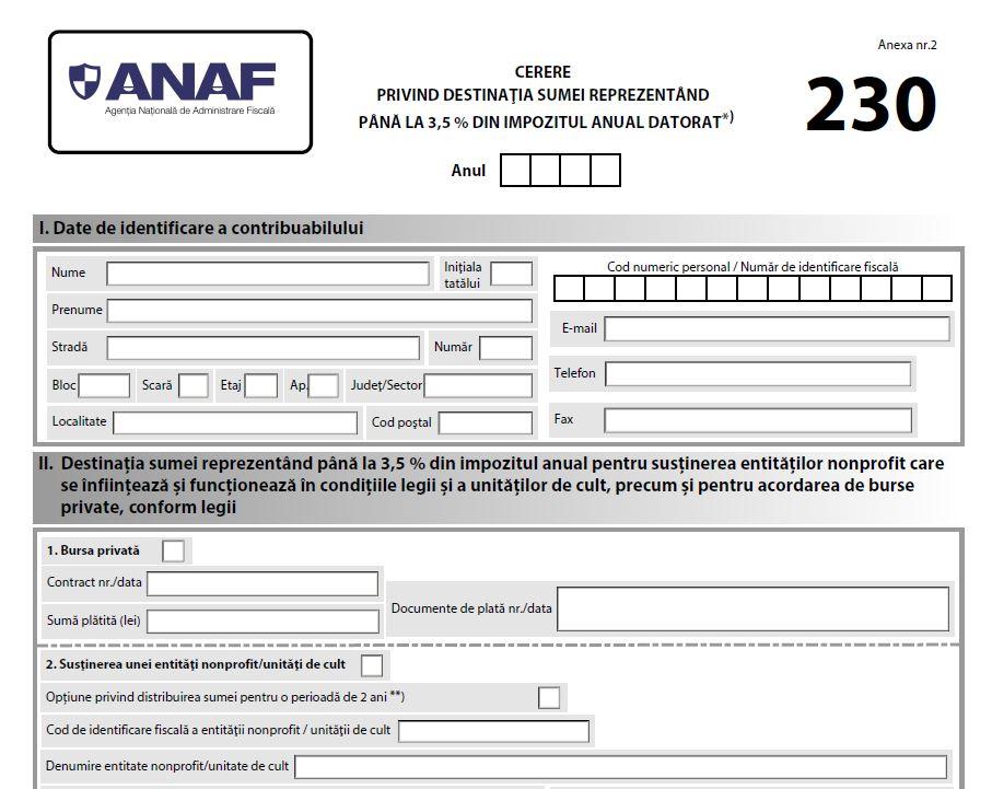 Formularul 230: Un nou formular?