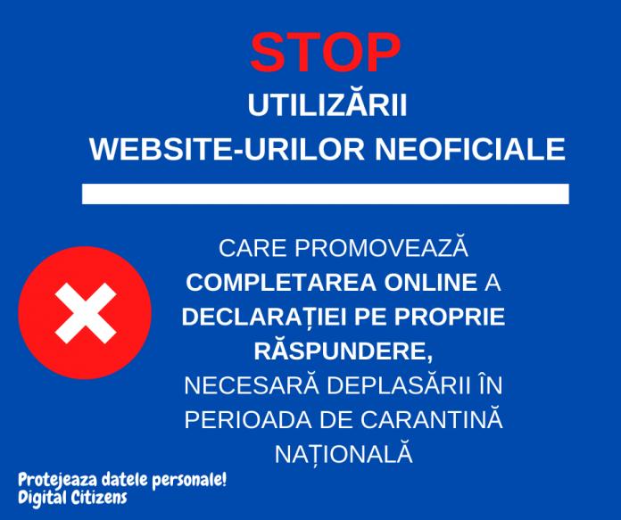 Apel la protejarea Datele Personale - nu uitilizati webiste-uri neoficiale