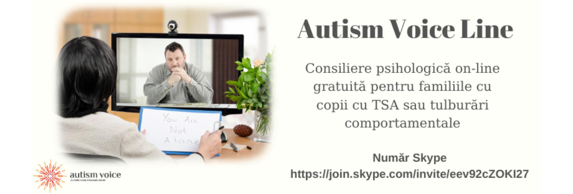 Autism Voice Line – Consiliere psihologică on-line gratuită pentru familiile cu copii cu TSA sau tulburări comportamentale