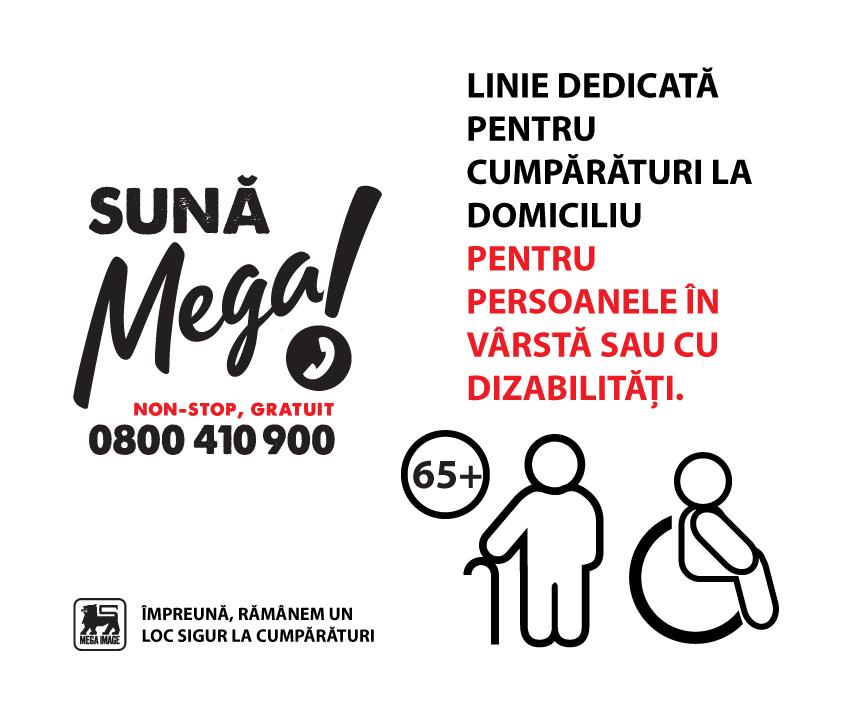 Mega Image facilitează cumpărăturile livrate gratuit la domiciliu pentru vârstnici prin linia telefonică dedicată, Sună Mega!
