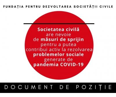 Document de poziție: Societatea civilă are nevoie de măsuri de sprijin pentru a  putea  contribui activ la rezolvarea problemelor sociale generate de pandemia COVID-19