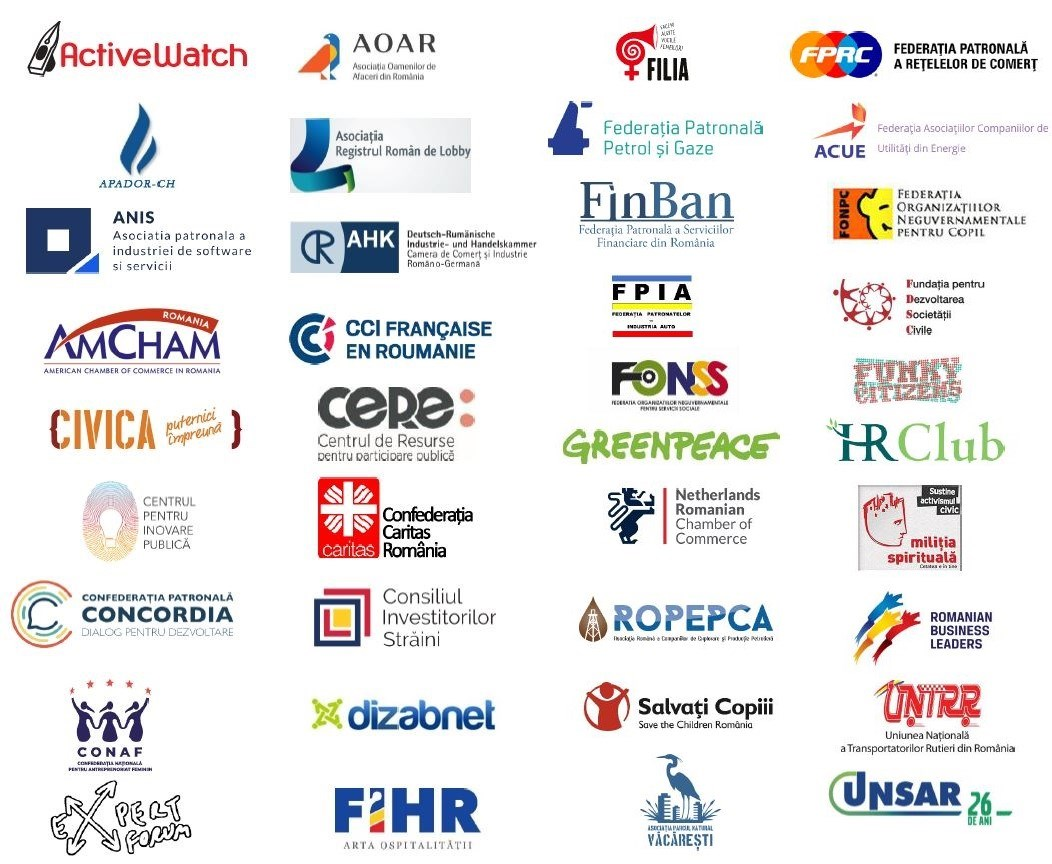 Scrisoare deschisă privind transparența procedurilor parlamentare semnată de 38 de organizații ale mediului de afaceri și societății civile