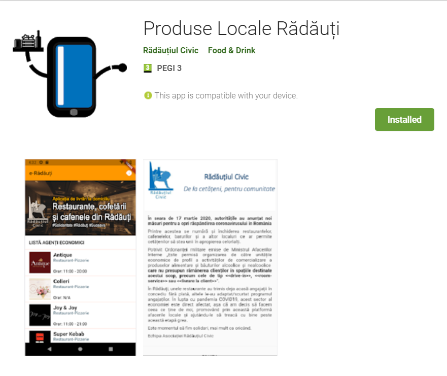 """Asociația Rădăuțiul Civic lansează aplicația """"Produse locale Rădăuți"""" - prima aplicație mobilă din Bucovina ce reunește restaurante, cafenele și producători locali"""