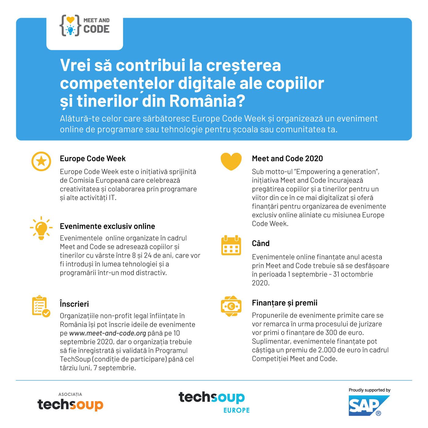 Meet and Code 2020 finanțează evenimente online de programare și tehnologie