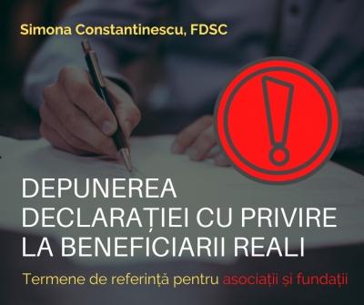 Termenele de referință pentru depunerea declarației cu privire la beneficiarii reali - asociații și fundații