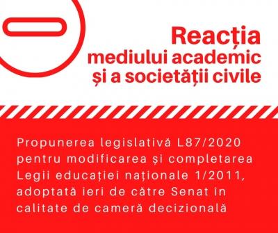 Reacții la Propunerea legislativă L87/2020 pentru modificarea și completarea Legii educației naționale 1/2011