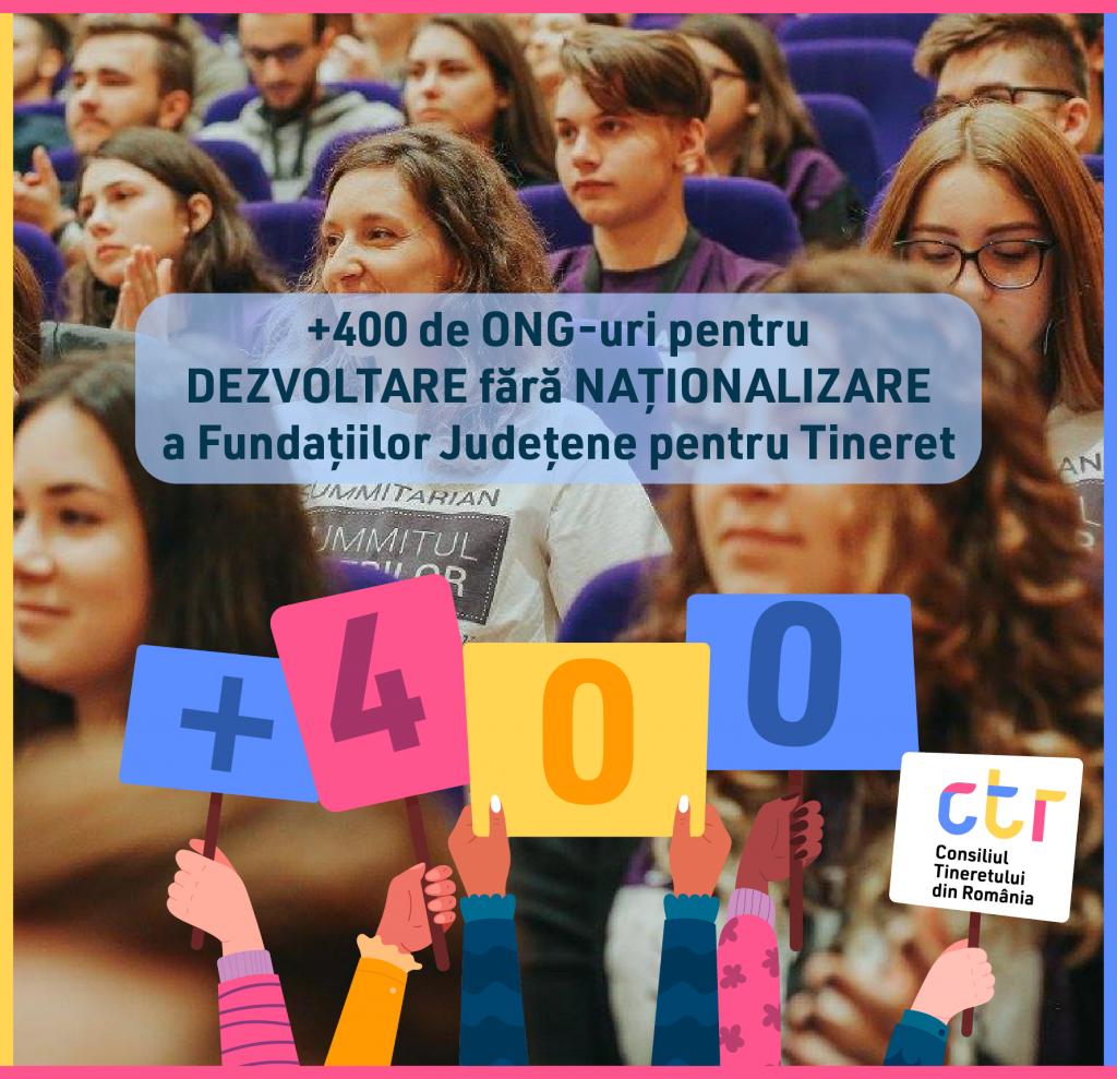 Mobilizare masivă a organizațiilor neguvernamentale pentru #DezvoltareFărăNaționalizare a fundațiilor județene pentru tineret