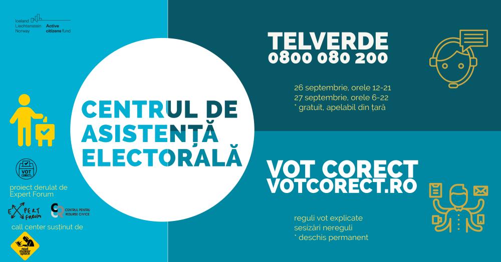 Call center 0800 080 200 și platforma www.votcorect.ro pentru sesizarea neregulilor în ziua alegerilor