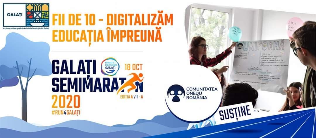Comunitatea ONedu România vă invită să alergați pe 18 octombrie în cadrul Semimaratonului Galați, pentru a susține proiectul Fii de 10!