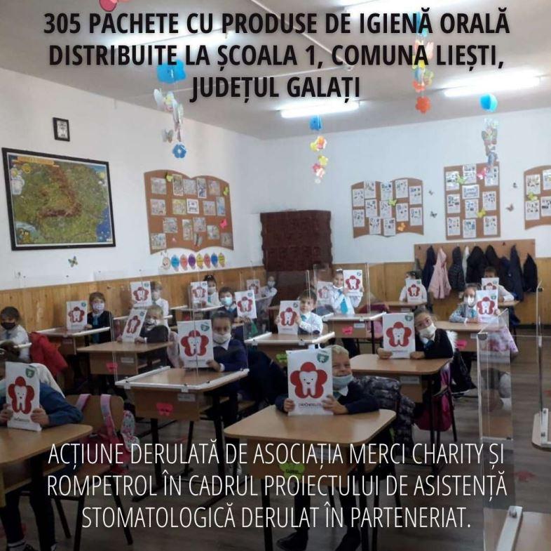 350 de pachete cu produse de igienă pentru sănătate orală au fost distribuite copiilor care învață în școli din comuna Colceag