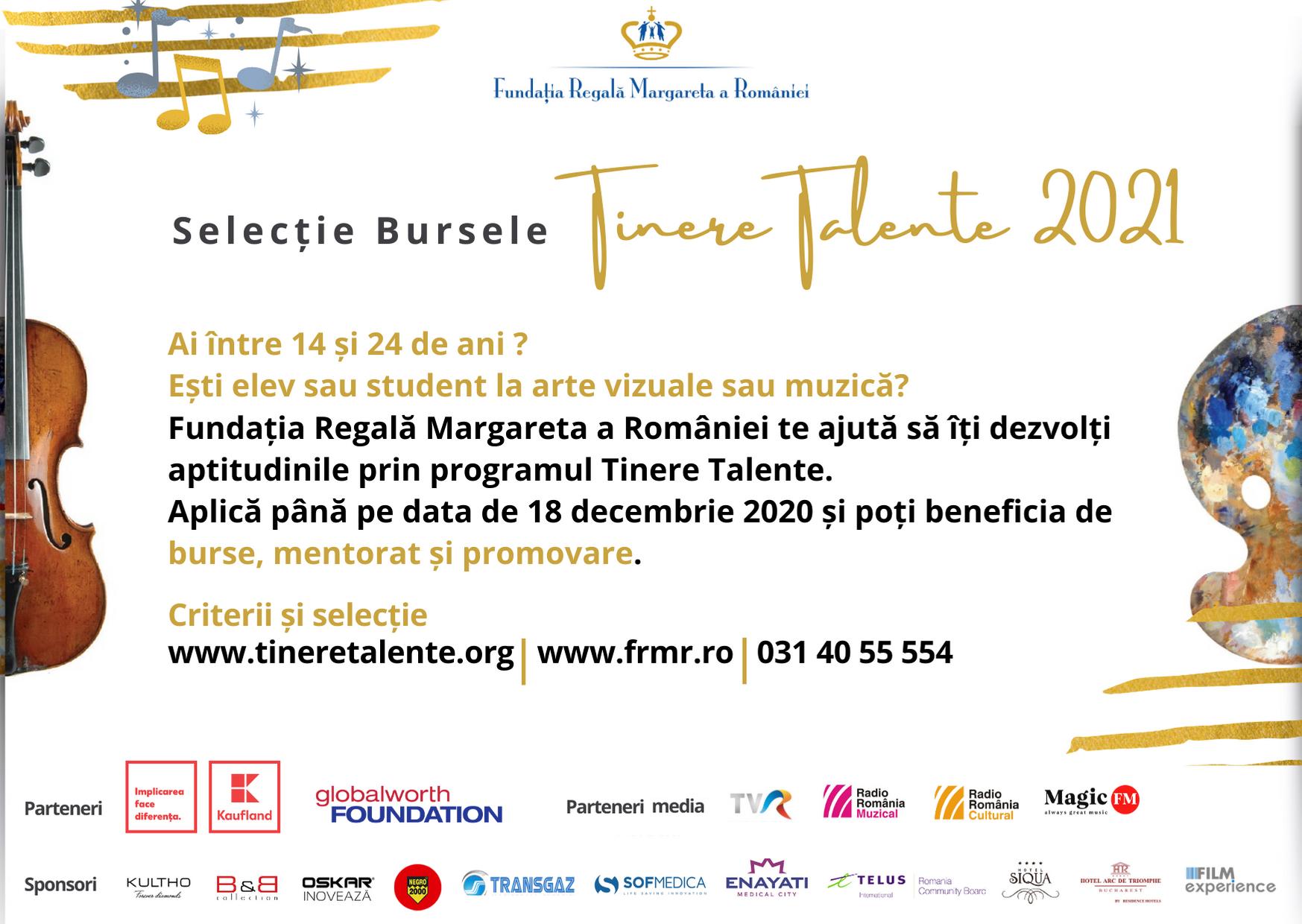 Fundația Regală Margareta a României lansează selecția națională pentru bursele Tinere Talente 2021