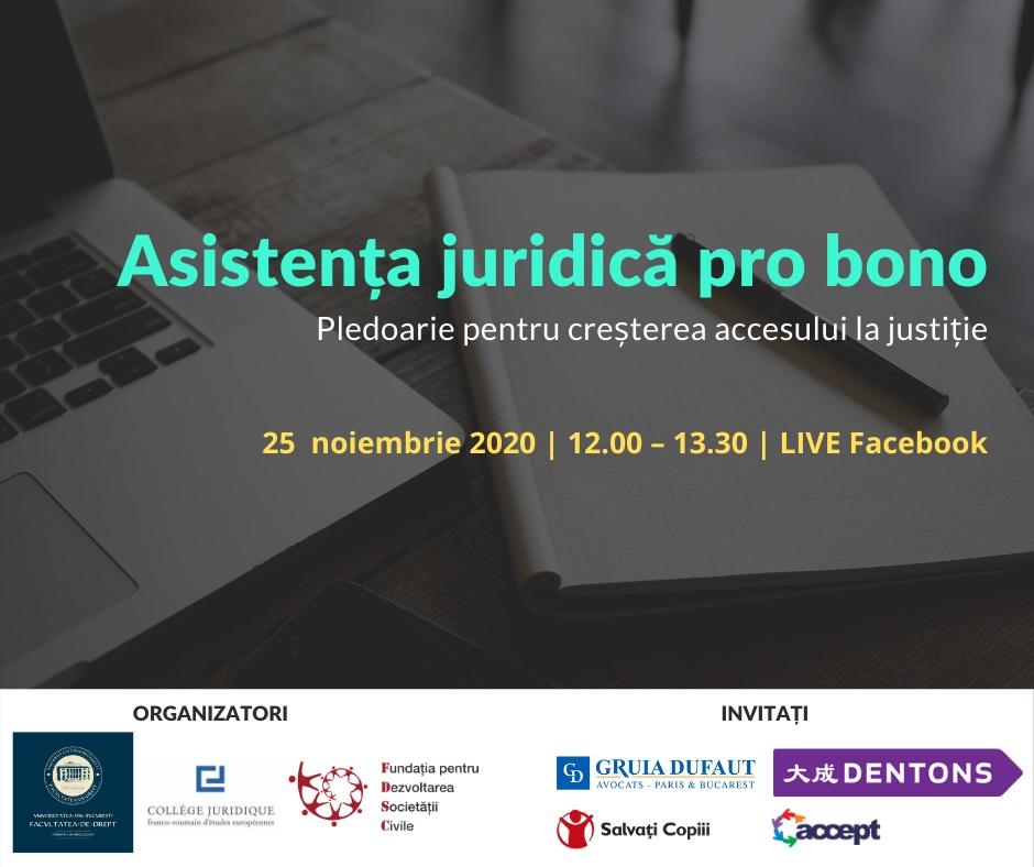 Asistența juridică pro bono - eveniment 25 noiembrie