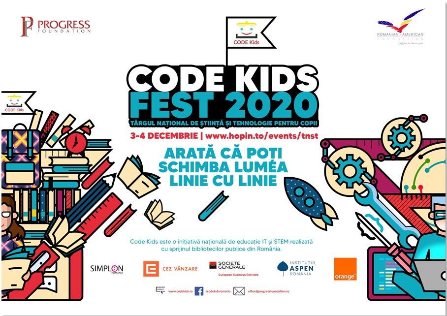 CODE KIDS FEST 2020: SAFE Bike, Robotul însoțitor pentru nevăzători, Senzorul de distanțare socială și alte proiectele digitale concurează pentru un loc pe podium la Târgul Național de Știință și Tehnologie pentru Copii