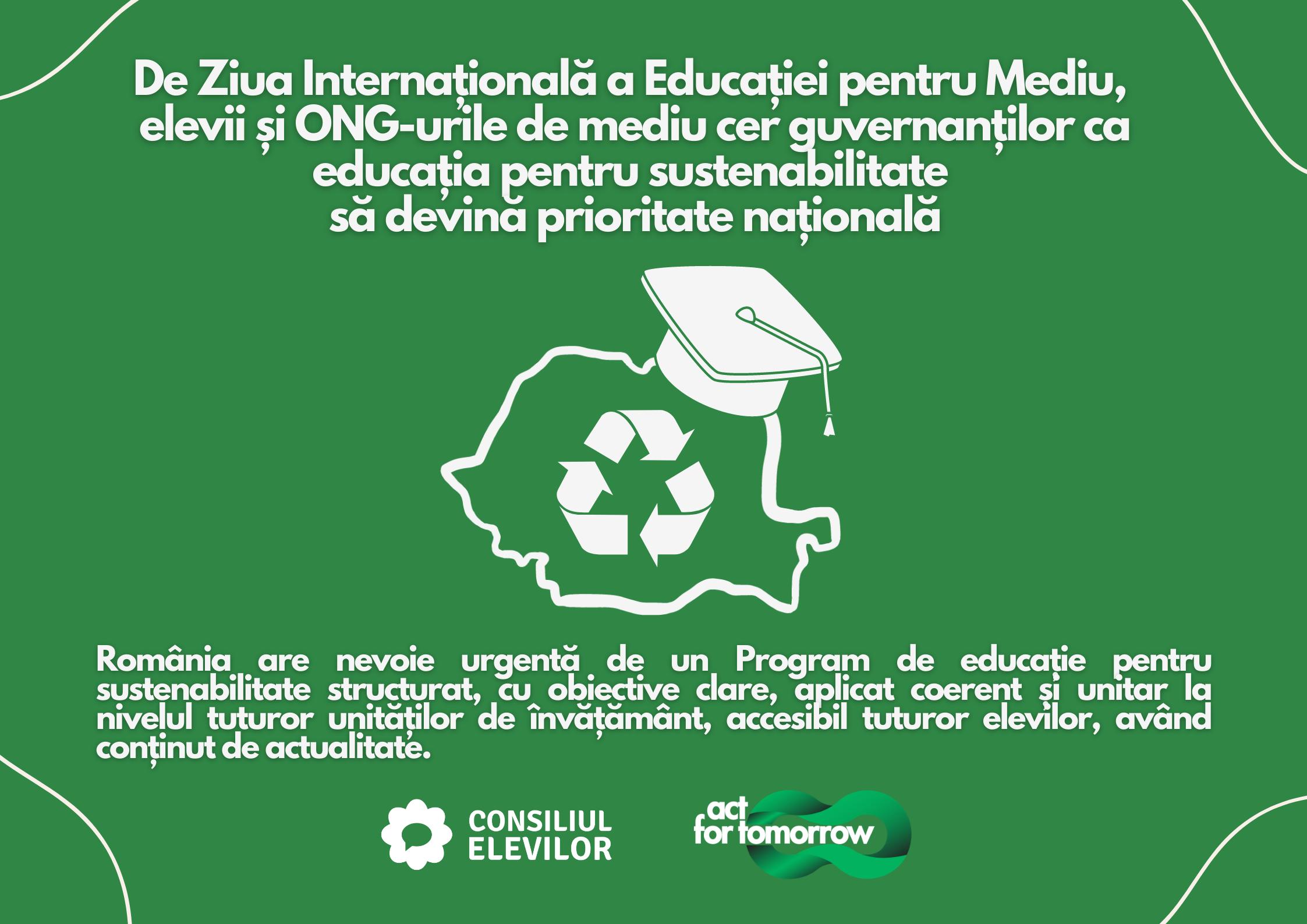 De Ziua Internațională a Educației pentru Mediu, elevii și ONG-urile de mediu cer guvernanților ca educația pentru sustenabilitate să devină prioritate națională