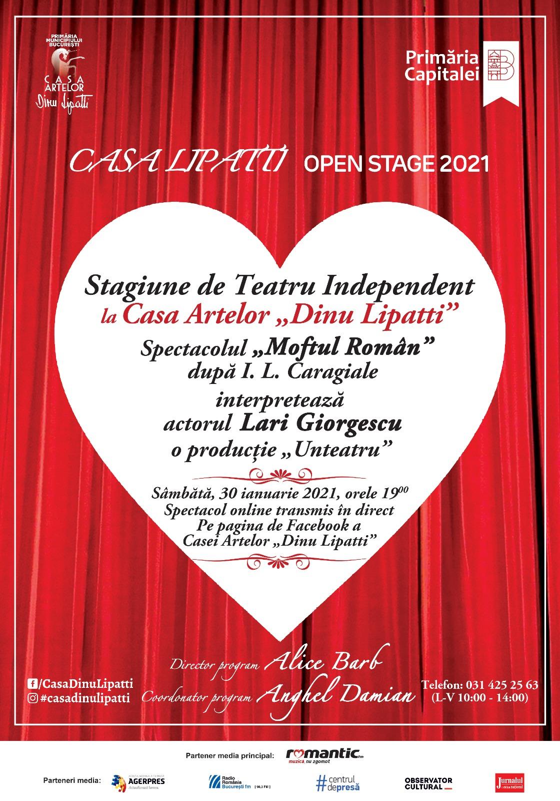"""Casa Artelor """"Dinu Lipatti"""" deschide Stagiunea de Teatru Independent în cadrul Programului CASA LIPATTI Open Stage 2021"""