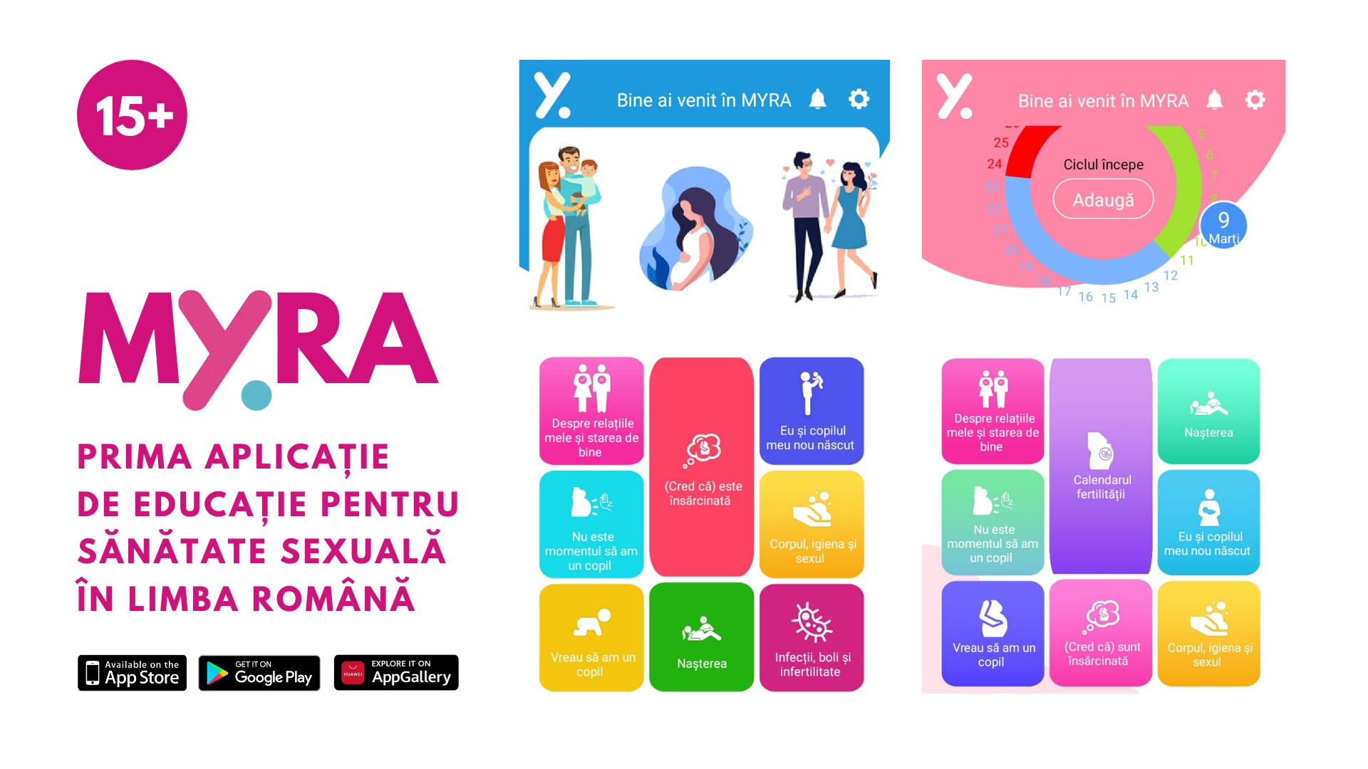 Myra, prima aplicație mobilă de educație pentru sănătate sexuală în limba română, este acum disponibilă gratuit pe App Store și Google Play