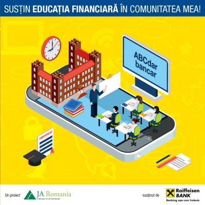 """Cursuri de educație financiară și sprijin financiar pentru echipamente oferite liceelor prin programul """"Susțin educația financiară în comunitatea mea"""""""