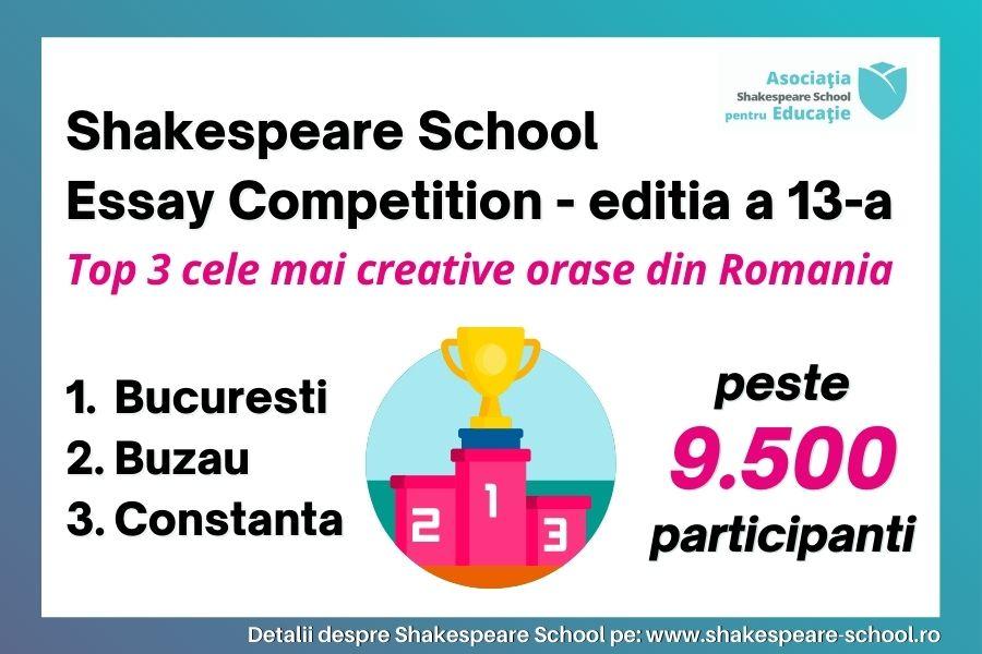 Shakespeare School Essay Competition, editia #13: Top 3 cele mai creative orase din Romania