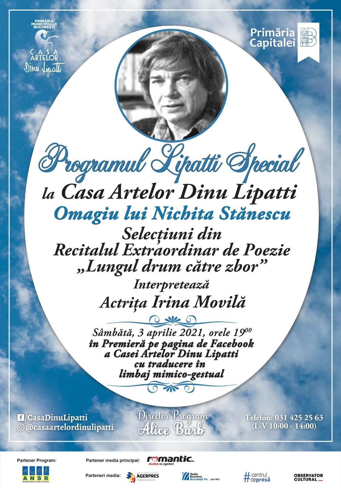 Omagiu lui Nichita Stănescu la Casa Artelor Dinu Lipatti în Premieră Online în cadrul Programului Lipatti Special, Ediția a XVI-a