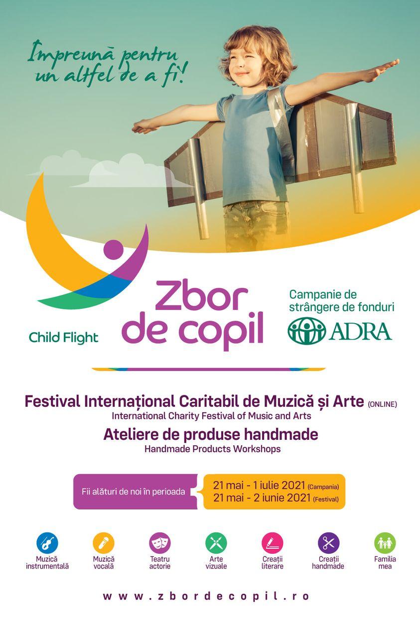 """""""Zbor de Copil"""" te așteaptă! – Festival internațional caritabil de muzică și arte, campanie de strângere de fonduri organizată de ADRA România"""