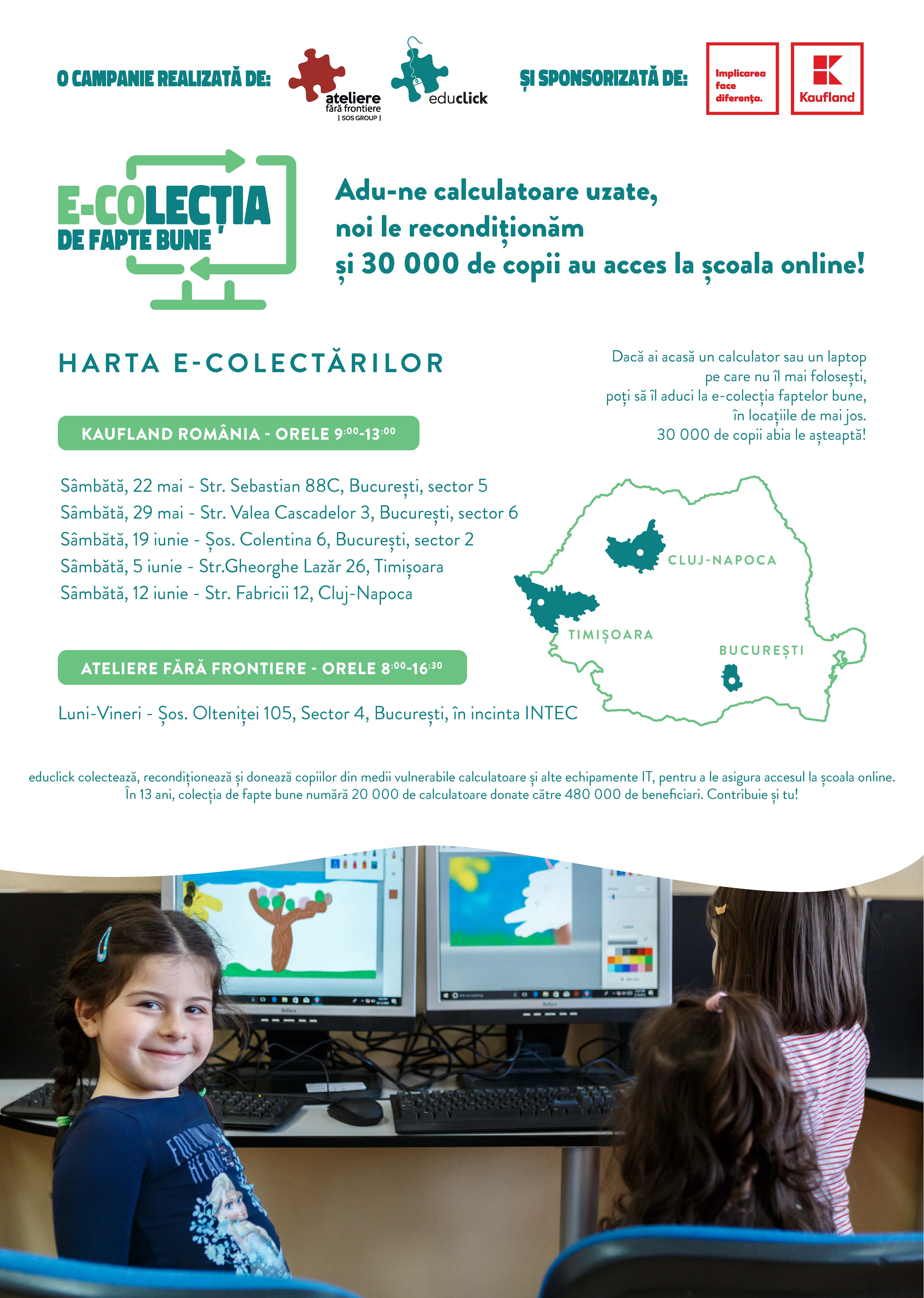 """Se dă startul campaniei """"E-COLECȚIA de fapte bune'' care transformă calculatoarele vechi în unele noi, pentru elevii din medii vulnerabile"""