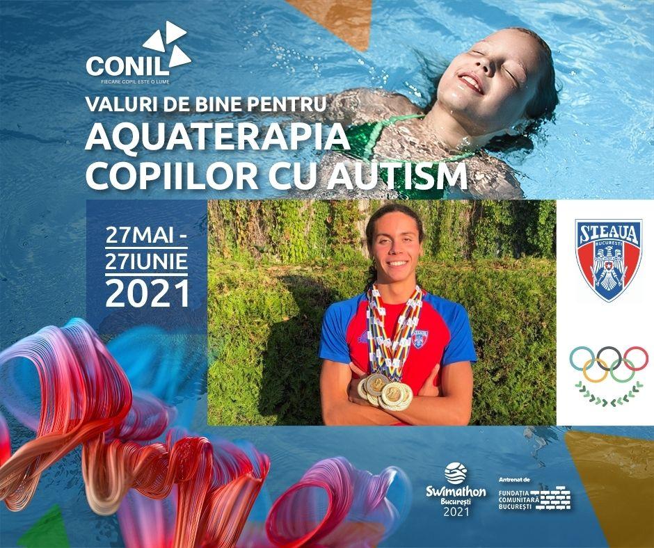 Multiplul campion David Popovici înoată pentru ca 50 de copii cu autism să beneficieze de programe de recuperare și integrare prin sport și aquaterapie