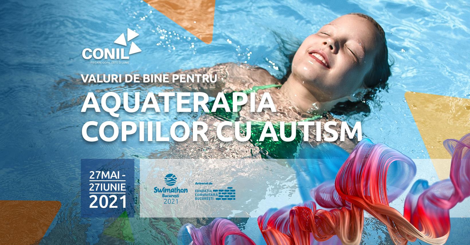 Asociația CONIL te invită în cel mai mare val de bine al anului! Swimathon 2021, facem valuri de bine pentru proiectul Aquaterapie pentru copiii cu autism!