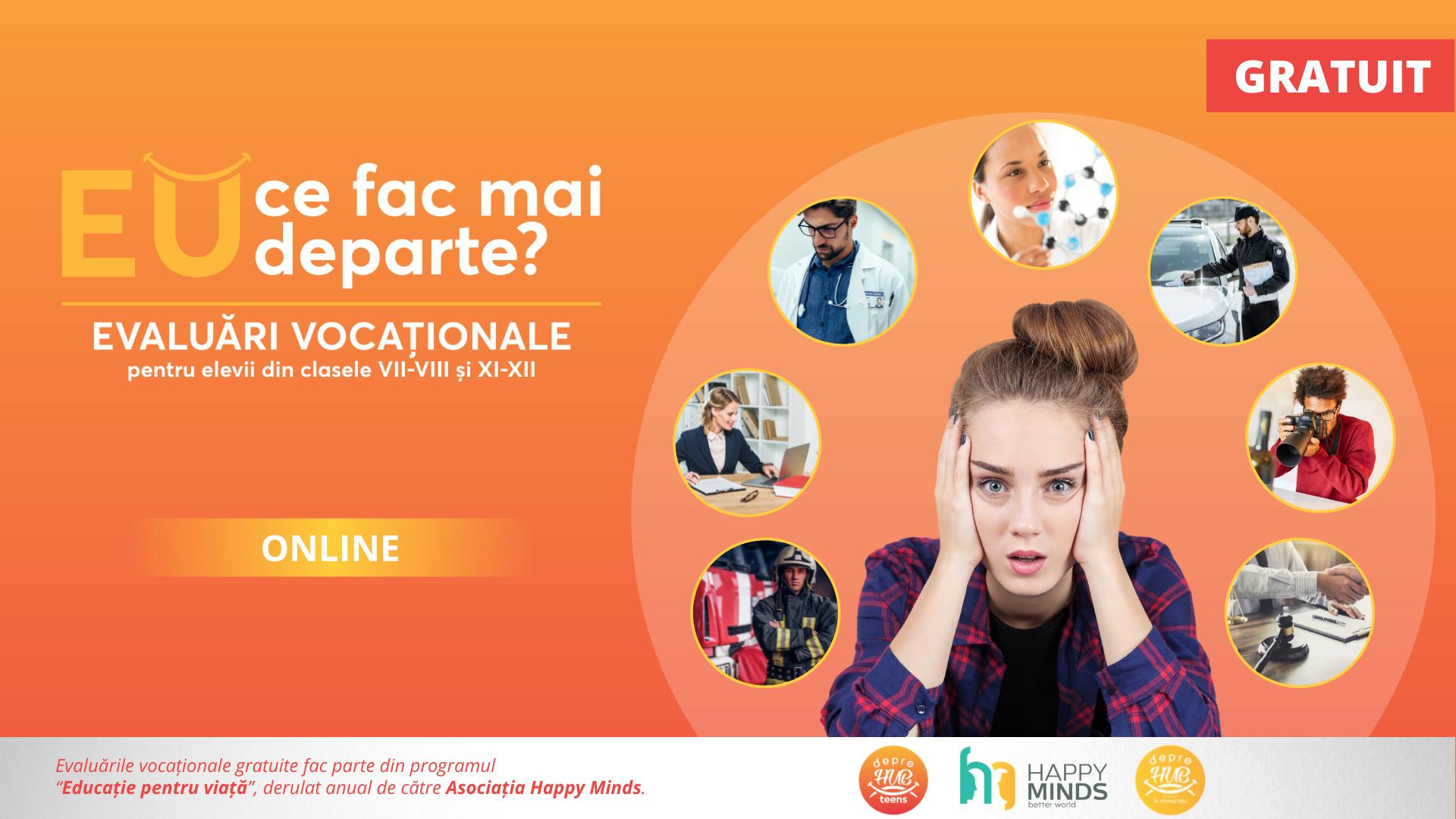 """depreHUB #teens lansează campania națională """"EU ce fac mai departe?"""" 500 de evaluări vocaționale gratuite pentru elevii din clasele VII – VIII și XI -XII"""